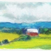 Red Barn and Teal Moutain